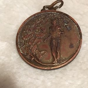 Antique Solid Copper Christmas Pendant Holly Coin